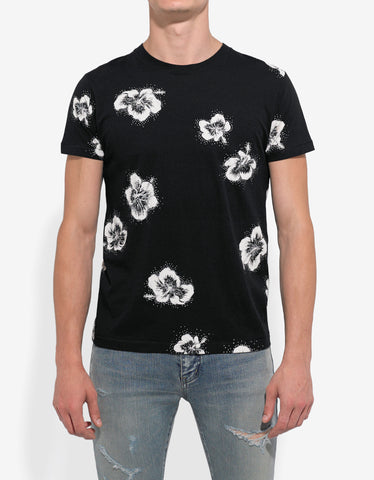 Saint Laurent Black Flower Print T-Shirt