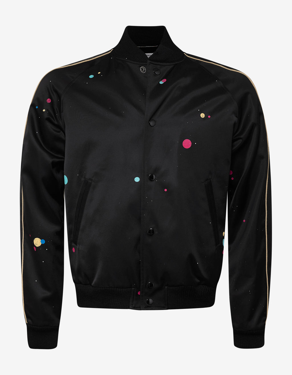 Black Galaxy Print Teddy Jacket