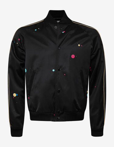 Saint Laurent Black Galaxy Print Teddy Jacket