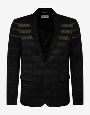 Black Glitter Stripe Wool-Blend Blazer