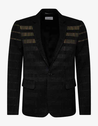 Saint Laurent Black Glitter Stripe Wool-Blend Blazer
