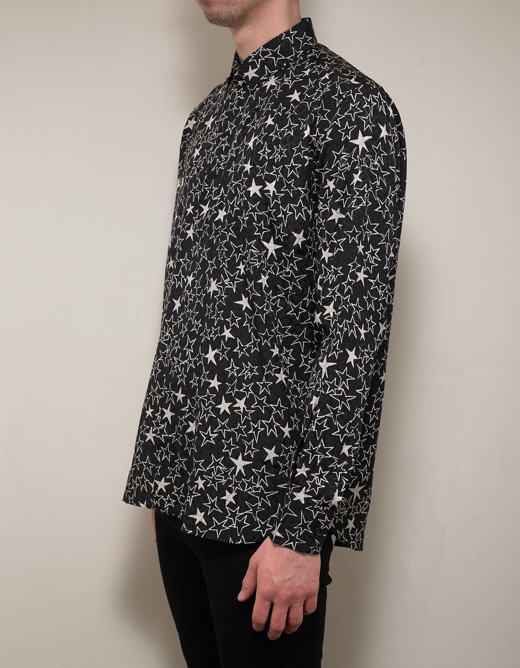 Black Graffiti Stars Print Silk Shirt