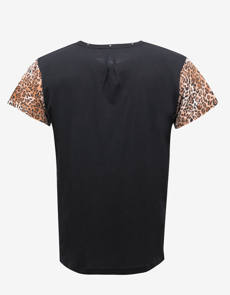 Black Graphic T-Shirt with Leopard Sleeves
