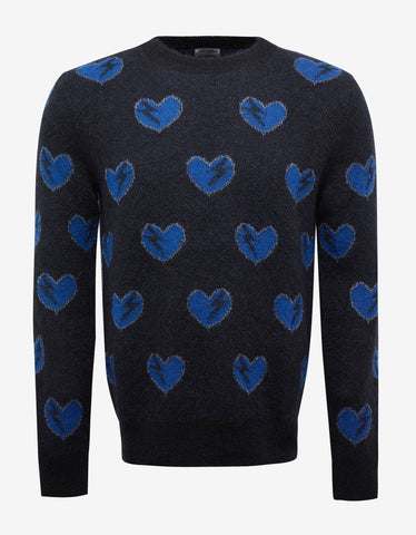 Saint Laurent Black Heart & Lightening Bolt Mohair Sweater