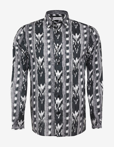 Saint Laurent Black Ikat Print Shirt