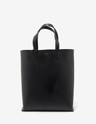 Saint Laurent Black Leather Tote Bag