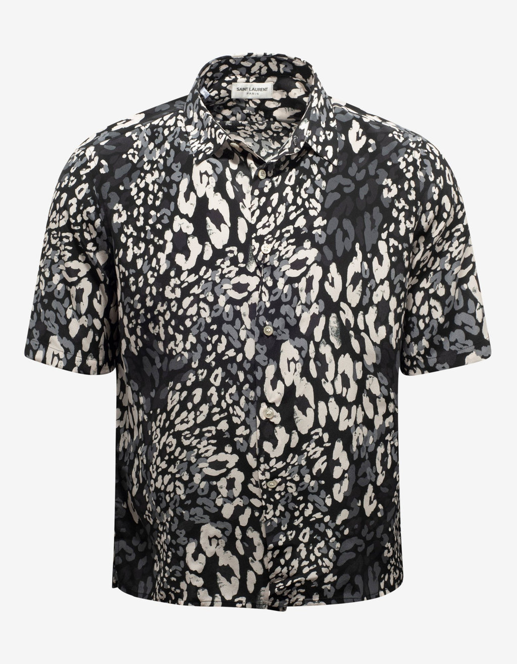 Black Leopard Print Silk Shirt -