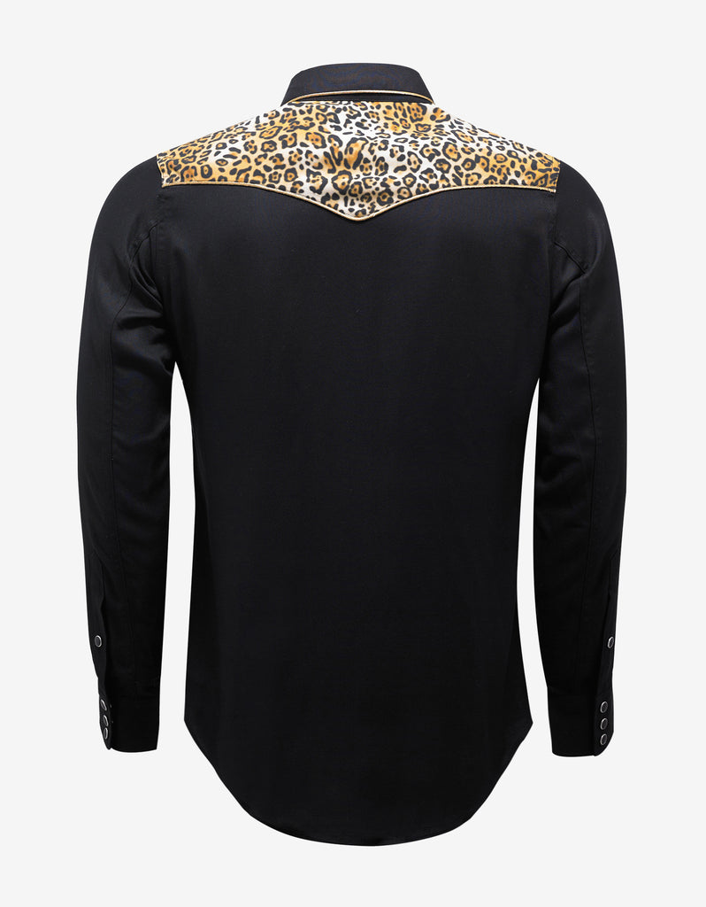 Black Western Shirt with Leopard Print Yoke