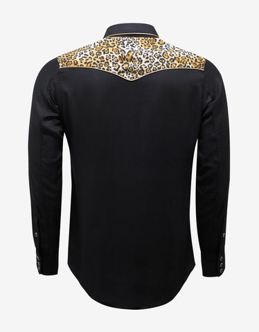 Saint Laurent Black Western Shirt with Leopard Print Yoke