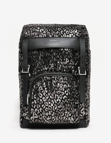 Saint Laurent Black Leopard Print Hunting Rucksack