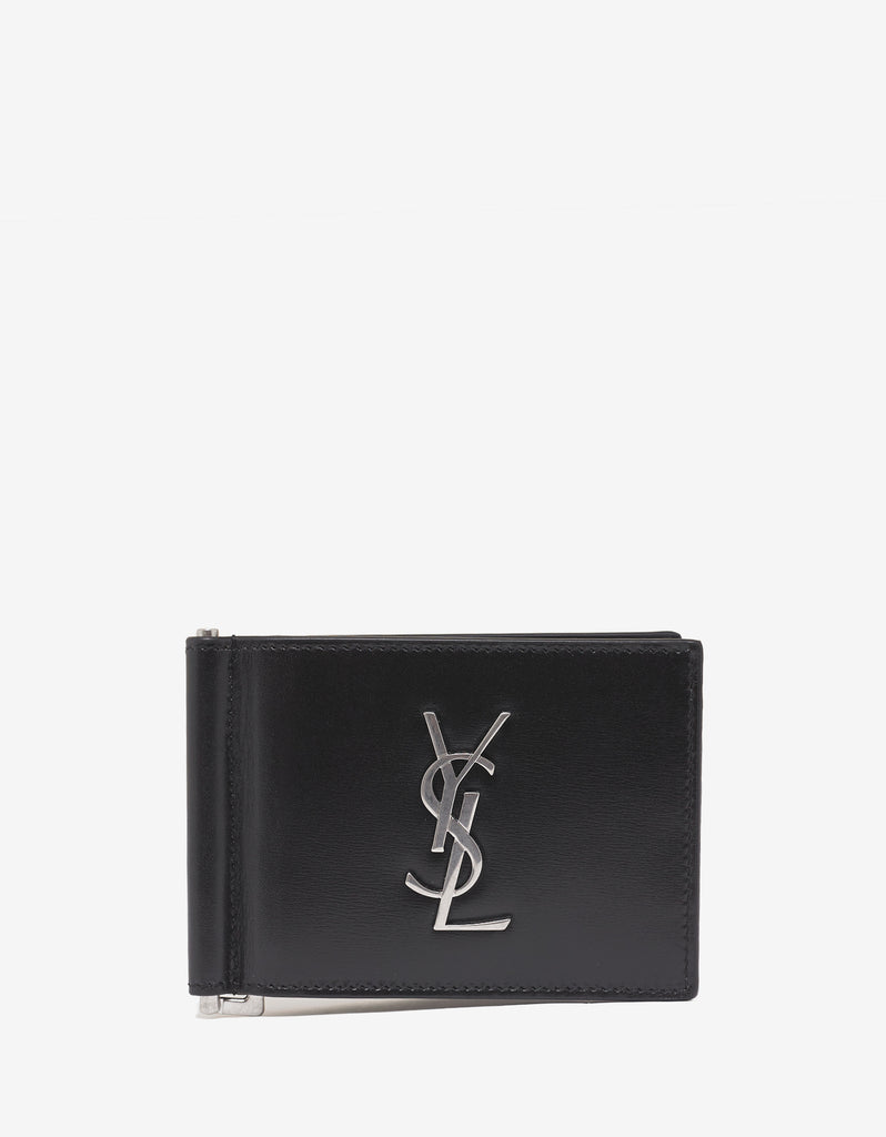Black Logo Monogram Bill Clip Wallet