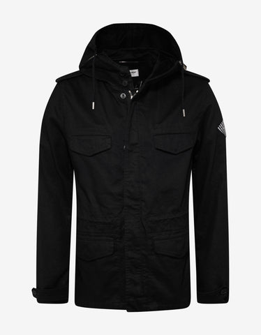 Saint Laurent Black Logo Patch Parka