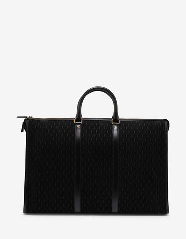 Saint Laurent Black Monogram Suede 48-Hour Duffle Bag