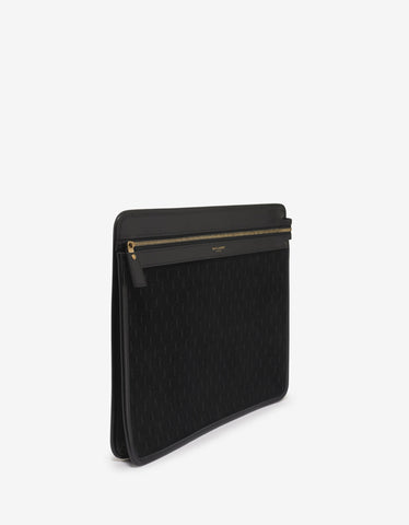 Saint Laurent Black Monogram Suede Leather Document Holder