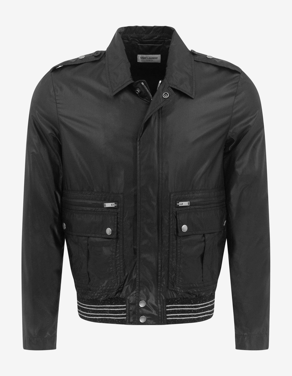 Black Nylon Teddy Jacket -