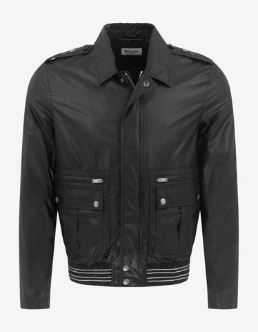 Black Coated Nylon Logo Band Jacket