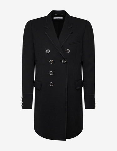 Saint Laurent Paisley Jacquard Wool Officer's Coat