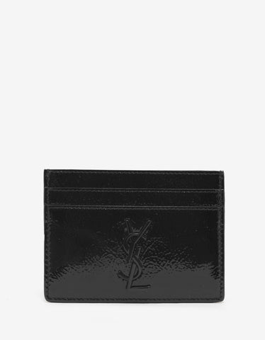 Saint Laurent Black Patent Leather Card Holder