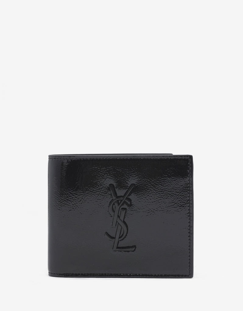 Black Patent Leather Billfold Wallet