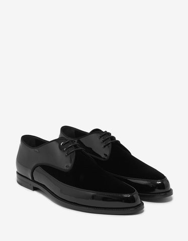 Saint Laurent Black Patent & Suede Leather Derby Shoes