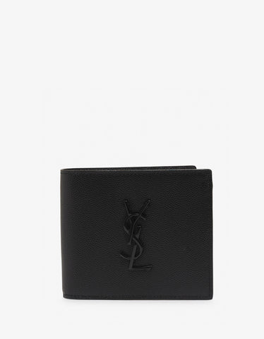 Saint Laurent Black Pebble Grain Logo Monogram Billfold Wallet