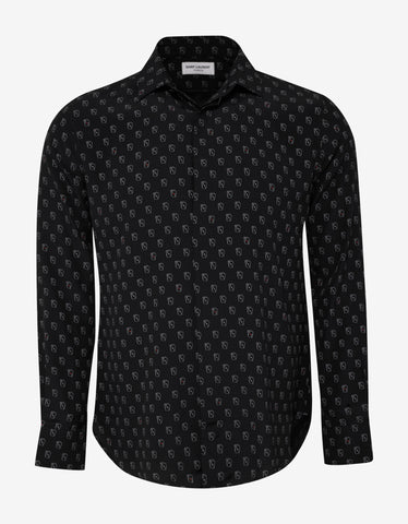 Saint Laurent Black Playing Cards Print Silk Shirt