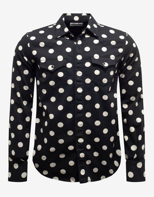 Black Polka Dot Denim Western Shirt -