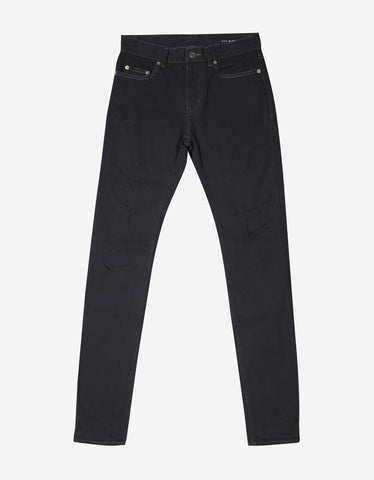 Saint Laurent Black D02 Destroyed Denim Skinny Jeans