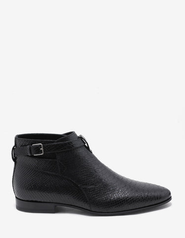 Saint Laurent Jodhpur Black Python Effect Ankle Boots