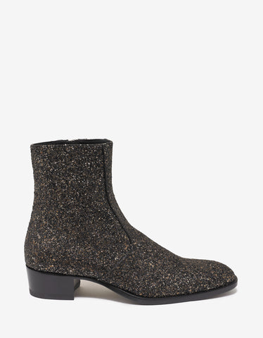 Saint Laurent Wyatt 40 Gold Glittered Boots