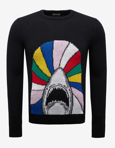 Saint Laurent Black 'Sweet Dreams' Shark Jacquard Wool Sweater