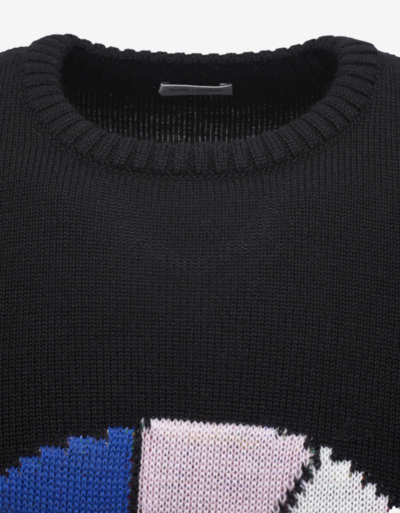 Black 'Sweet Dreams' Shark Jacquard Wool Sweater