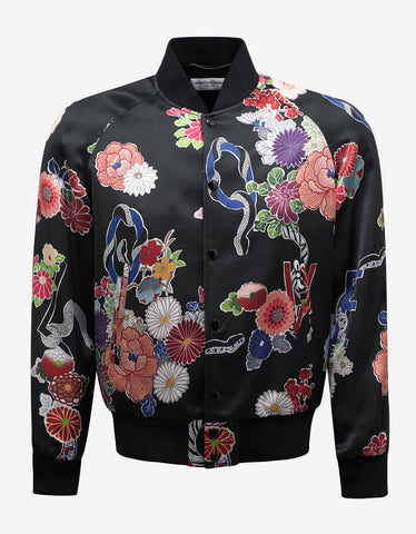 Saint Laurent Black Satin 'Love' Print Varsity Jacket