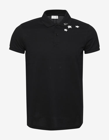 Saint Laurent Black Star Print Polo T-Shirt