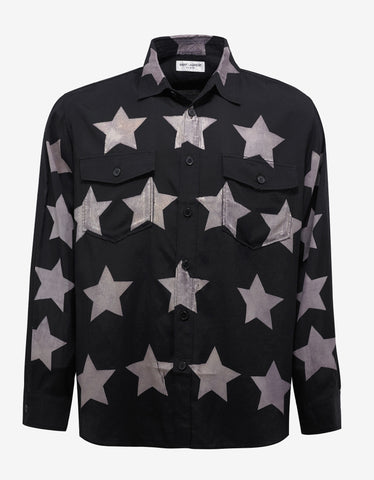 Black Oversized Star Print Shirt