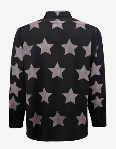 Saint Laurent Black Oversized Star Print Shirt