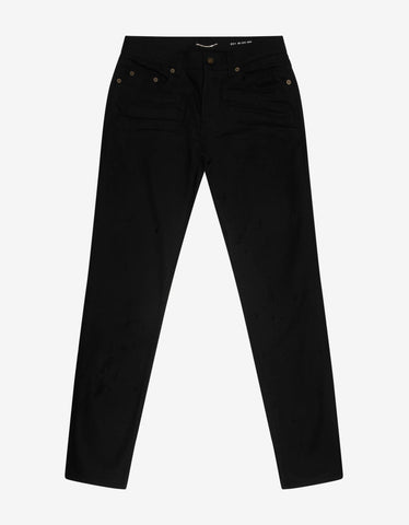 Black Back Logo Print Jeans