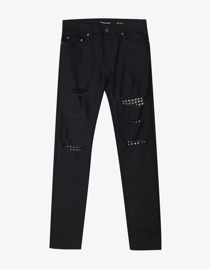 Black D02 Studded Leather Patch Destroyed Jeans