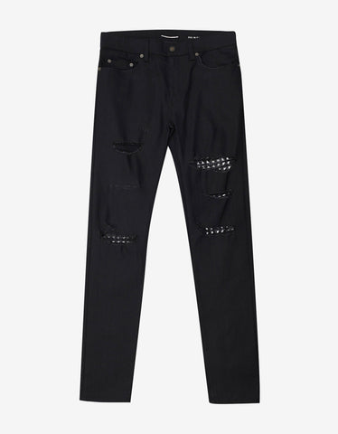 Saint Laurent Black D02 Studded Leather Patch Destroyed Jeans