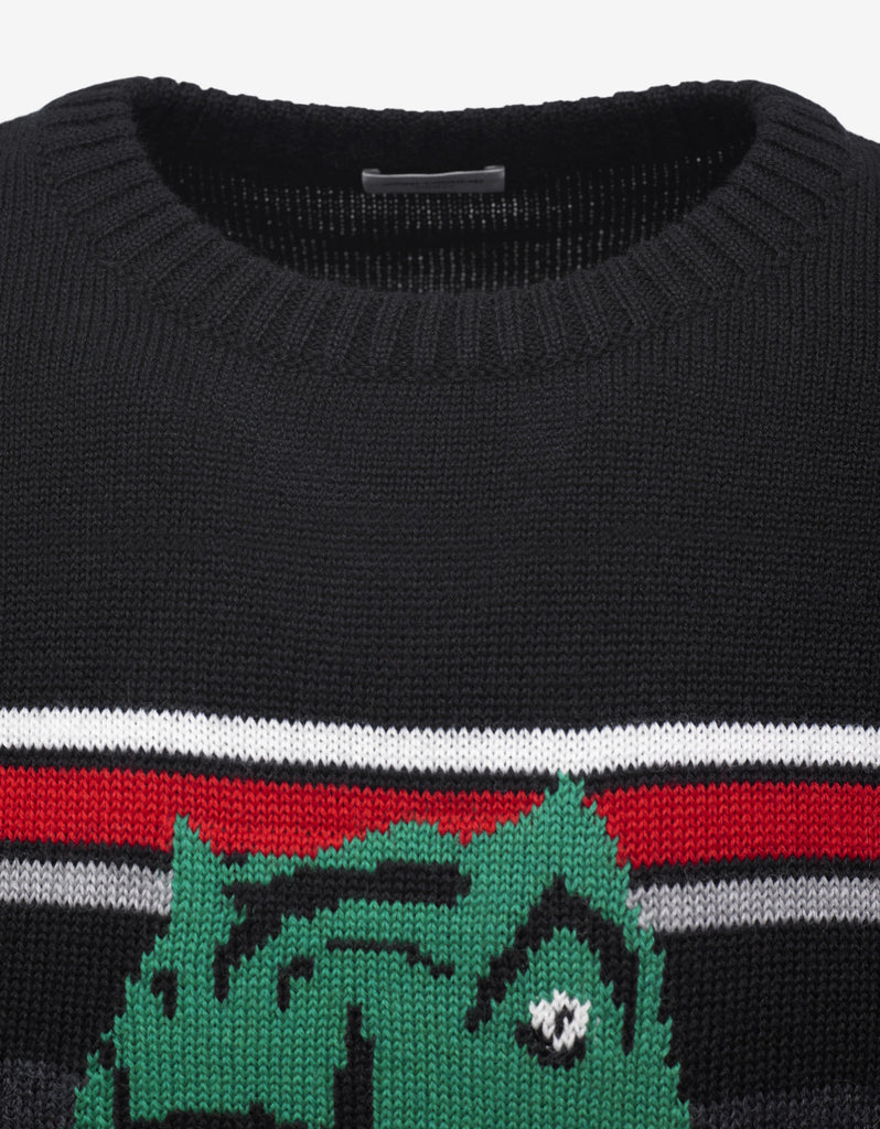 Black Dino Jacquard Wool Sweater