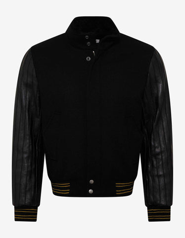 Saint Laurent Black Teddy Jacket with Leather Sleeves