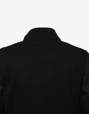 Black Teddy Jacket with Leather Sleeves