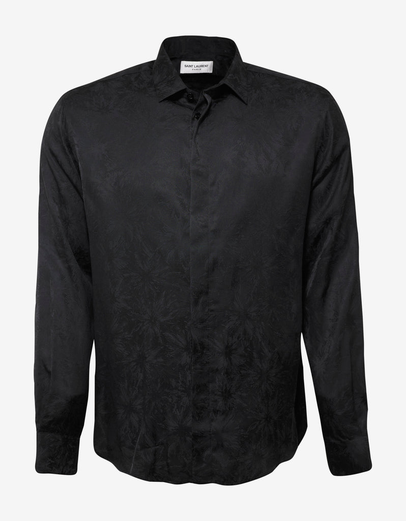 Black Tonal Flower Print Shirt