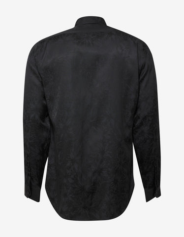 Saint Laurent Black Tonal Flower Print Shirt