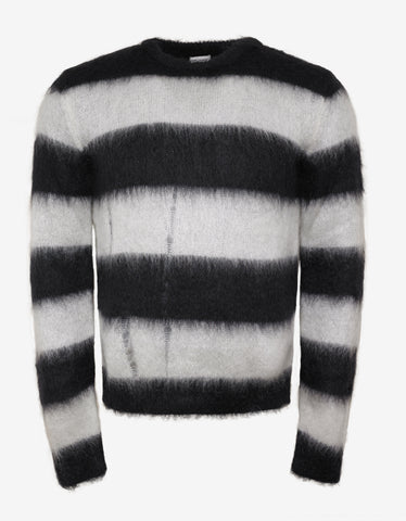 Saint Laurent Black & White Stripe Mohair Sweater
