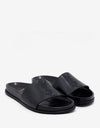 Black Logo Embroidered Leather Slide Sandals