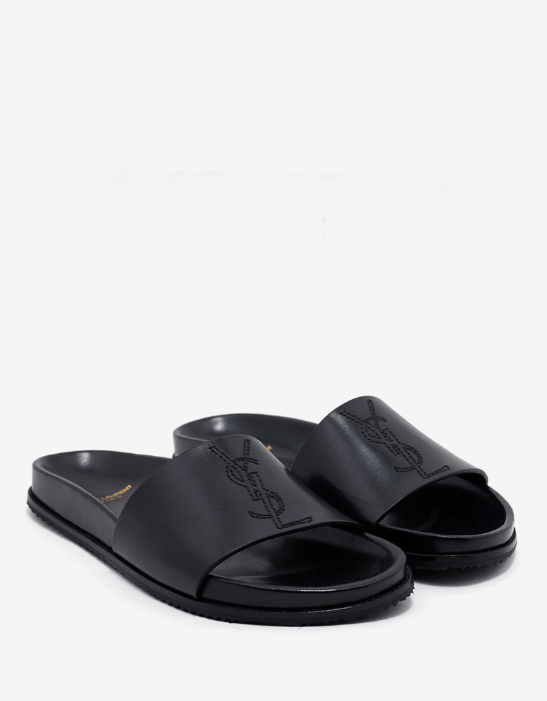 Slides Leather Laurent Saint Embroidered Black qROZgU1