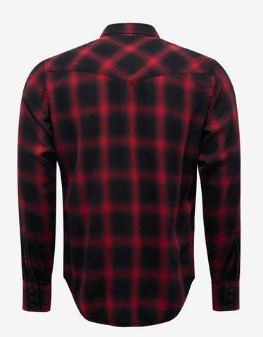 Saint Laurent Black & Red Plaid Western Shirt