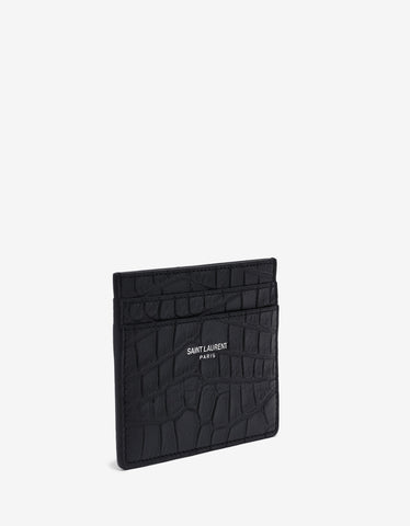 Saint Laurent Black Croc Embossed Card Holder