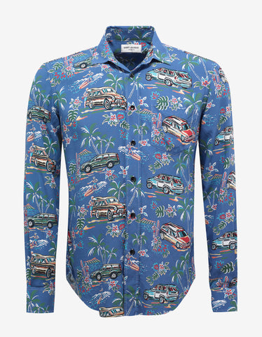 Blue Hawaiian Palm Print Oversized Shirt